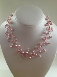 New David Elizabeth Jewelry Pink & White Faux Pearl Illusion Floater Necklace