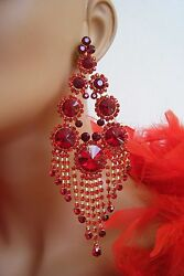 CLIP ON RED CHANDELIER RHINESTONE EARRINGS PAGEANT STAGE SET DRAG QUEEN 5.5quot; L $35.00