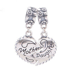 Authentic Genuine S925 Silver Mother Daughter Love Heart Dangle Bead Charm