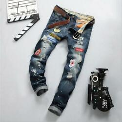 New Men hole badge embroidery European American style denim Fashion Casual Jeans $49.00