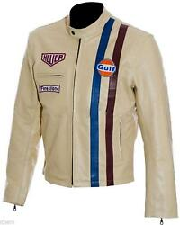 Men's Steve McQueen Le Mans Gulf Racing Style Stripes Leather Jacket