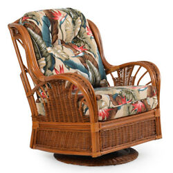 Rattan Man Indoor Wicker Highback Swivel Glider Chair by American Rattan