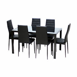 7 Piece Rectangular Dining Set Glass Table 6 Artificial Leather Chiars $329.00