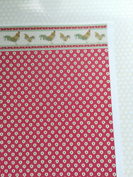 Dollhouse Brodnax Wallpaper Kitchen Red quot;Roosterquot; 1:12 Scale Miniature $3.65