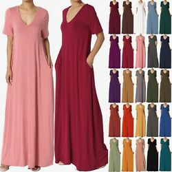 TheMogan S 3X Casual V Neck Short Sleeve Loose Fit Long Maxi Dress with Pockets $23.99