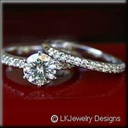 3.90 Ct MOISSANITE ROUND FOREVER ONE GHI WEDDING SET MICRO PAVE RINGS