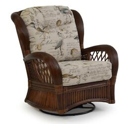 Rattan Man Indoor Rattan Highback Swivel Glider Chair by American Rattan