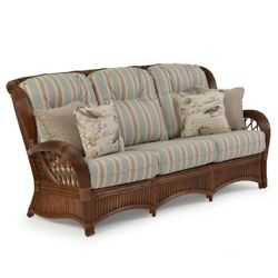 Rattan Man Indoor Sofa with Free Toss Pillows by American Rattan