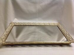 Vintage Large Vanity Mirror Footed Lay Stand Hang Jewelry Tray Display 14