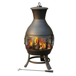 Outdoor Fireplace Black Portable Steel Chiminea Shape Wood Burning 20.9
