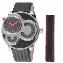 GV2 by Gevril Men's 8300 Macchina Del Tempo Limited Edition Black Leather Watch