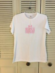 Under Armour Womens  Heat Gear Shes A Fighter Breast Cancer T-Shirt White Sz M