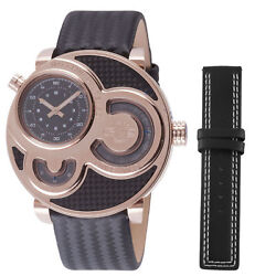 GV2 by Gevril Men's 8303 Macchina Del Tempo Rose Gold IP Black Leather Watc