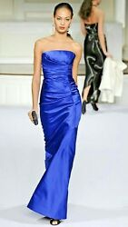 $7K OSCAR DE LA RENTA GORGEOUS ROYAL BLUE SILK  GOWN DRESS RUNWAY US 0
