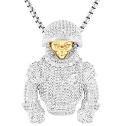 Alien Astronaut 14k White Gold Finish Icy Simulated Stones Free Box Chain