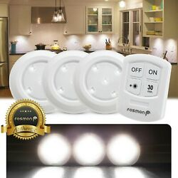Wireless Stick On Puck LED Tap Light Bright Remote Battery Under Cabinet Closet $11.99