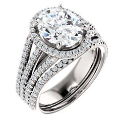 3.40 Ct Oval Moissanite Forever One Halo triple Band pave engagement ring