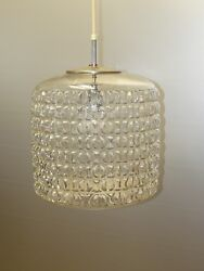 DORIA Pendant Lamp Drum shaped Structured Glass Germany 1960 70s Ø: 11quot; $265.00