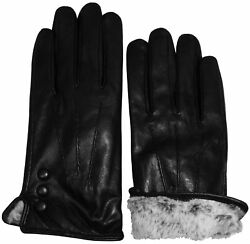 NICE CAPS Womens Ladies Genuine Kid Leather Driving Winter Plush Lined Gloves $26.99