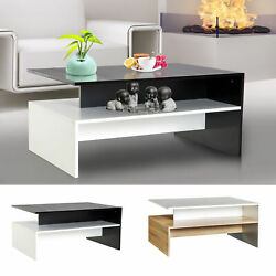 Two-tone Modern 2-Tier Wooden Coffee Table Side Desk Living Room Organizer