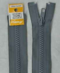 Vizzy Chunky Open End Zip 80cm Colour 62 GREY A Quality Brand Name Zipper