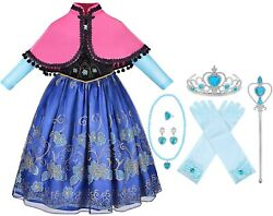 Anna Deluxe Long Sleeve Princess Costume Kid Halloween Party Girl Dress Up Gown $18.98