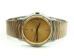 EBEL 183903 STAINLESS STEEL 24K GOLD ELECTROPLATED TRIM 34MM QUARTZ WATCH