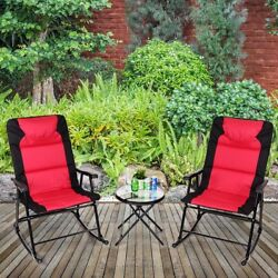 Set of 3 Outdoor Garden Folding Rocking Chair Table Set Camping Bistro Furniture
