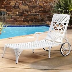 Outdoor Chaise Lounge Chair Recliner Retro Metal Pool Deck Sun Lounger White New