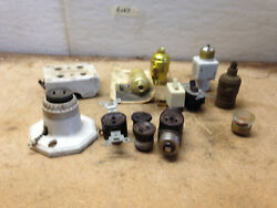 Vintage Sockets and Switches and a Fuse and a Light Sensor SELLING 1 LOT OF 13 $9.55