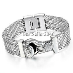 Mens High Polished Stainless Steel Gothic Boxing Glove Heavy Curb Chain Bracelet $18.99