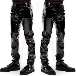 Mens's Sexy Trousers Zipper Patent Leather Pants PVC Club Clubwear US Newest