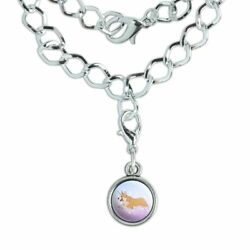 Unicorg Corgi Unicorn Silver Plated Bracelet with Antiqued Charm