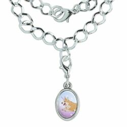 Unicorg Corgi Unicorn Silver Plated Bracelet with Antiqued Oval Charm