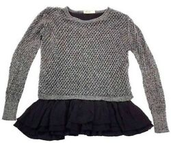Origami By Vivien Women Top Size M Cotton Ruffle Black Long Sleeve A09