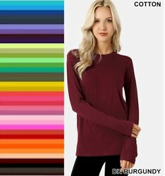 Womens T Shirt Crew Neck Long Sleeve Zenana Cotton Stretch Top S M L XL