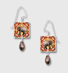 ELEPHANT on Red Square EARRINGS by Lemon Tree Dangle Hypoallergenic + Gift Boxed