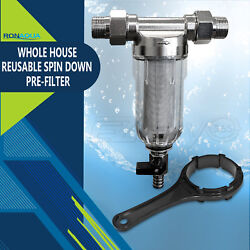 Reusable Whole House Spin Down Pre-Filter to Remove Sediment Rust Sand