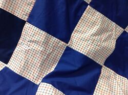 Vintage Material Red White Blue Plaid Argyle Fabric Unfinished Quilt Top $49.99