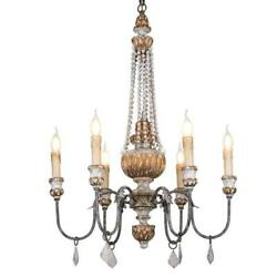 KunMai Retro Rustic 6-Light Sculpted Wood Rust Metal Clear Crystal Candle...