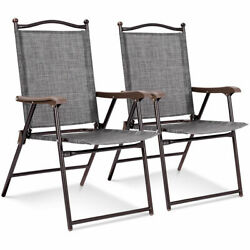 Set of 2 Patio Folding Sling Back Chairs Camping Deck Garden Beach Gray
