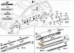 Mercedes ML W164 GL X164 side skirt step running board CLIPS and BOLTS set 10pcs $83.00