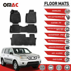 Floor Mats Liner 3D Molded Black Fits for Honda Pilot 2009 2015 $79.90