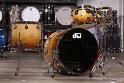 DW Collectors Pure Maple 4pc Drum Set Natural to Burnt Toast Fade w Chrome Hw