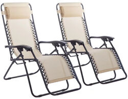 Zero Gravity Chairs Case Of 2 Lounge Patio Chairs Outdoor Yard Beach