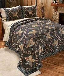 3-PC PADUCAH STAR FULL QUEEN PRIMITIVE QUILT PILLOW SHAM SET COUNTRY CABIN DECOR