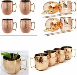 Moscow Mule Hammered Copper 18 Oz Drinking Beer Mug Set 4 Cup Brass Handle GIFT