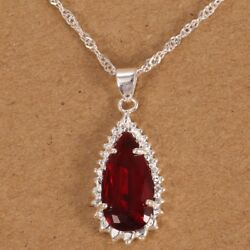 Luxury Natural Ruby Jewelry 925 Silver Red Gem Stone Drop Pendant Necklace New