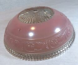 Vintage Glass Ceiling Shade Light Fixture Cover 3 Hole Pastel Pink 10.25quot; Dia. $20.00