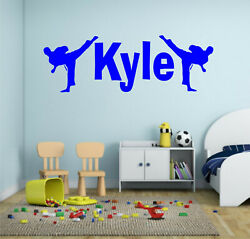 PERSONALISED NAME KARATE MARTIAL ARTS VINYL WALL STICKER DECAL BOYS GIRLS DECOR GBP 7.99